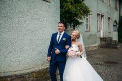 一对爱恋的夫妇在秋天走在公园 新郎和新娘的婚礼之日 图库摄影
