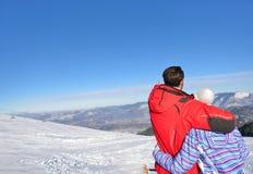 一对爱恋的夫妇的背面图在毛皮看下雪的山脉的敞篷夹克的 免版税图库摄影