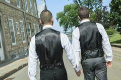 一对爱恋的快乐男性夫妇的画象在他们的 免版税库存照片