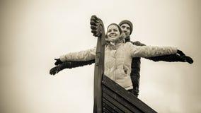 一对现代北欧海盗夫妇 图库摄影