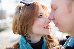 一对白种人夫妇的特写镜头 免版税库存图片