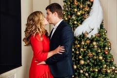 一对美好的夫妇的画象在圣诞树背景的 新年,红色礼服,蓝色西装 库存图片
