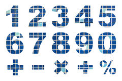 一对零的数字和基本的数学符号 免版税库存图片