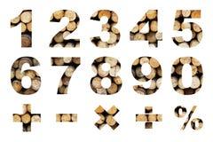 一对零的数字和基本的数学符号 免版税图库摄影