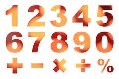 一对零的数字和基本的数学符号 免版税库存照片