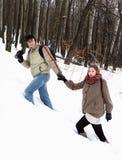 一对年轻夫妇在冬天森林里 库存照片