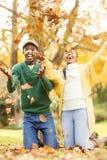 一对年轻夫妇投掷的叶子的画象  免版税库存照片