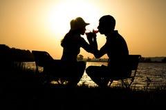一对年轻夫妇的剪影在离开的爱的在野餐在镇外面在黎明饮用的酒团体 库存照片