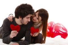 一对年轻夫妇的图片,情人节概念 免版税库存照片