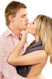 一对年轻夫妇的特写镜头画象 图库摄影