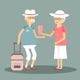 一对年长夫妇旅行 免版税库存照片