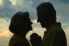 一对年长夫妇的剪影 免版税库存图片