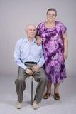 一对年长夫妇的画象八十年 免版税库存图片