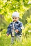 一小的l男孩拿着一朵花 库存照片