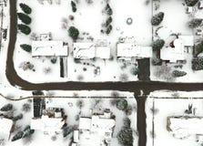 一小镇的鸟瞰图在冬天,安大略,加拿大 图库摄影