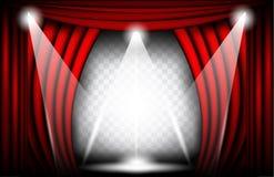 一幅红色天鹅绒帷幕的接近的看法 剧院背景传染媒介例证,与聚光灯的Teathre阶段 免版税库存照片
