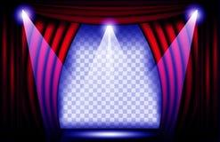 一幅红色天鹅绒帷幕的接近的看法 剧院背景传染媒介例证,与聚光灯的Teathre阶段 库存照片