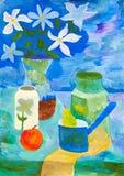 一幅静物画的儿童的图画与花的 免版税库存图片