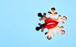 一年轻美女的嘴唇有红色口红的 免版税图库摄影
