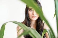 一年轻美女的画象有绿叶的 夏天时尚照片 皮肤护理概念,秀丽温泉,生物产品 库存照片