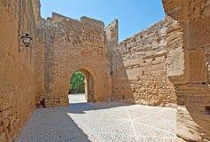 一座历史的城堡的门 库存照片