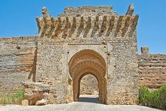 一座历史的城堡的门 免版税库存照片