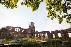 一座古老城堡捷列先科的废墟在Deneshi,乌克兰 19世纪宫殿  库存照片