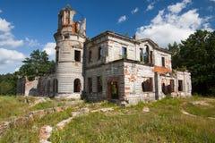 一座古老城堡捷列先科Grod的废墟在Zhitomir,乌克兰 19世纪宫殿  图库摄影