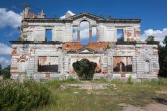 一座古老城堡捷列先科Grod的废墟在Zhitomir,乌克兰 19世纪宫殿  库存照片