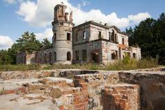 一座古老城堡捷列先科Grod的废墟在Zhitomir,乌克兰 19世纪宫殿  免版税图库摄影