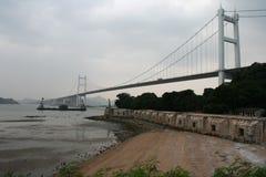 一座吊桥在虎门镇中国,在底层射击是威远堡垒 免版税库存照片