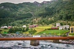 一座地方桥梁在市奥达在挪威 库存图片