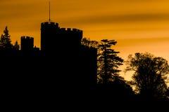 一座城堡和树的鬼的剪影与橙色天空 免版税库存图片