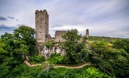 一座城堡的废墟在Momjan, Istria,克罗地亚 库存照片