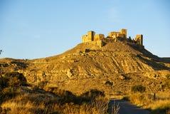 一座城堡的废墟在Montearagon,韦斯卡省,阿拉贡,西班牙的 图库摄影