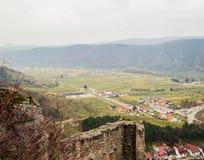 从一座城堡的看法在Durnstein 图库摄影