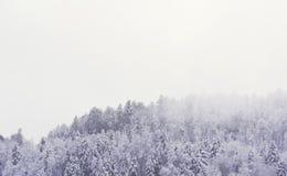一座多雪的山的风景与大和清楚的拷贝空间的 库存图片