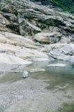 一座山的根与粗砺的岩石的 免版税库存照片