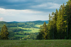 从一座山的看法在Lipno -捷克 免版税图库摄影