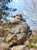 一座山的老石教会在森林里 库存图片
