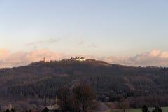 一座撒克逊人的城堡在冬天 库存图片