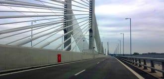 一座暂停的桥梁的看法在多瑙河的 免版税库存图片