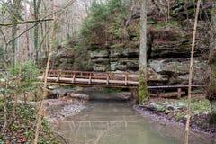 一座木走道和桥梁 免版税库存照片