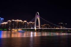 一座桥梁在广州,中国,称德国桥梁 免版税库存图片