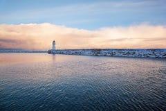一座灯塔的冬天视图在特隆赫姆 图库摄影