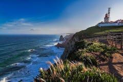 一座灯塔的好的看法在葡萄牙 免版税库存照片