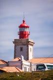 一座灯塔的好的看法有海洋的在葡萄牙 免版税图库摄影