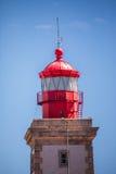 一座灯塔的好的看法有海洋的在葡萄牙 免版税库存图片