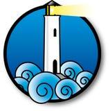 一座灯塔的仿效在风大浪急的海面 库存图片