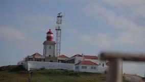 一座灯塔的9月2015年葡萄牙尼斯视图有海洋的在葡萄牙 股票视频